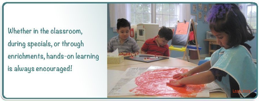 Whether in the classroom, during specials, or through enrichments hands-on learning is always encouraged!